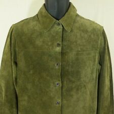 Great Northwest Leather Suede Jacket Shirt Green Womens Sz Large NWT New