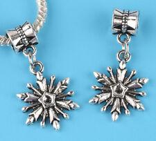2pcs Tibetan silver snowflake Charm bead fit European Bracelet Pendant B#04
