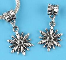 2pcs Tibetan silver snowflake Charm bead fit European Bracelet Pendant #D04