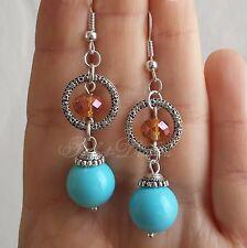 Sky Blue Round Earrings Long Dangle Swarovski 925 Sterling Silver Hook Tibetan