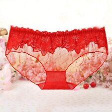 Women Panties Sexy Lace Briefs Transparent Mesh Underpants Underwear Lingerie