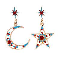 Mode Frauen Stern Mond Sonne Kristall Charm Drop Dangle Ohrringe Schmuck Gesche