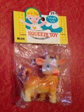 VINTAGE Japan COW Squeeze Toy Soft Vinyl SEALED Bag & Header Stahlwood Toy