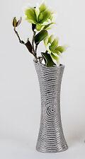 Moderne Deko Vase Blumenvase aus Keramik in silber Höhe 60 cm