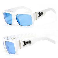 Locs Mens Cholo Biker Sunglasses - White Frame Blue Lens LC74