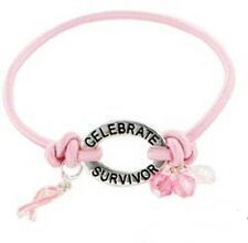 Breast Cancer Bracelet Awareness Celebrate Survivor Engraved Pink Ribbon Beads