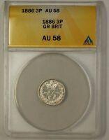 1886 Great Britain Three Pence 3P Silver Coin ANACS AU-58