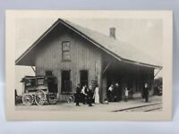 Old Black & White Photo Postcard Horse And Carriage At Railroad Station People