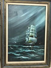 Poss Listed Artist~Creme~Deco Mod Impressionist Seascape Ship Painting 36 X 24