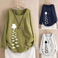 Mode Femme Shirt Floral Loose Manche Longue Col Rond Coton en Lin Haut Plus
