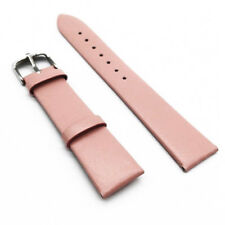 12-22mm Solid Color Smooth Genuine Leather Buckle Slim Watch Strap Band Bracelet