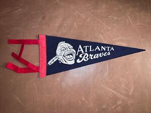 Vintage 1960's Atlanta Braves Baseball Mini Pennant  Banner 4x8.5 Georgia MLB