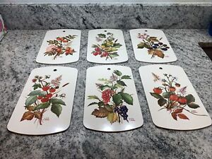 VTG PERSONAL LAMINATE SNACK CUTTING BOARD SET (6) RICOLOR W GERMANY~fruit/Flower