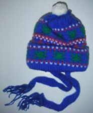 """Bear/Doll Clothing Christmas Decoration knitted Toque with pompom Blue 4"""""""