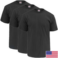 Soffe Military Black T-Shirt, 100 Percent Cotton Poly 3-Pack