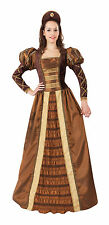 LADIES MEDIEVAL TUDOR COSTUME GOLD DRESS GAME OF THRONES QUEEN OUTFIT NEW 12-14