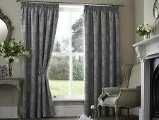 "PALERMO FLORAL 66"" x 54"" SILVER GREY PENCIL PLEAT LINED READY MADE HEAVY CURTAIN"