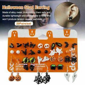 20 Pairs Halloween Stud Earrings Set Bat Pumpkin Lamp Spider Party Jewelry Women