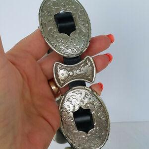 "Vtg Tony Lama Black Skinny Leather Belt W/11 Silver Elaborate Medallions 26"" (S)"
