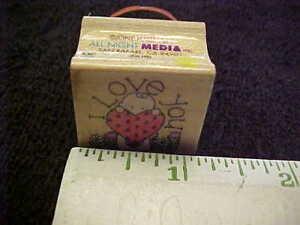 Heart Wood Mounted Stamp Ladybug And Flowers