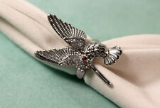 Silver Tone Hummingbird Ring With Clear Rhinestones and Red Rhinestone for Eye
