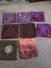 Job Lot Of 8 Cushion Covers Plum Purple Red Brown