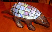 Aardvark Stained Glass Cast Metal Animal Accent Table Lamp Night Light RARE