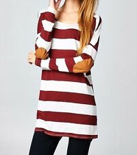 Vanilla Bay Women's Tunic Shirt Long Sleeve Burgundy Beige Elbow Patch Medium M