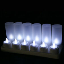 LED Flickering Tea Light Candle Rechargeable Tealights Wedding Flameless White
