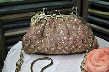 Designer Glam Bag  Rose Fabric Purse Gold Embroidery and Sequins Noly Fuentes