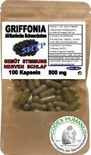 100 Kapseln 500 mg Griffonia. 5HTP SEROTONIN GEMÜT STIMMUNG PSYCHE NERVEN SCHLAF