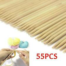 55 Pcs Double Pointed Bamboo Knitting Needles Sweater Glove Knit Tool Set HQ