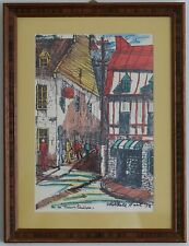 "1972 ""Rue De Tresor Quebec"" Landscape Hand Colored Print by Michele Hart (A3289)"