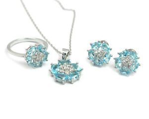 Natural Swiss Blue Topaz 925 Sterling Silver Ring Earring Necklace Jewelry Set