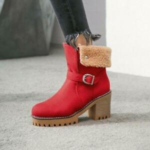 Womens Fashion Faux Suede Fur Trim Buckle Strap Ankle Boots Chunky Mid Heels