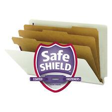 Smead Pressboard End Tab Classification Folder Legal 8-Section Gray/Green 10/Box