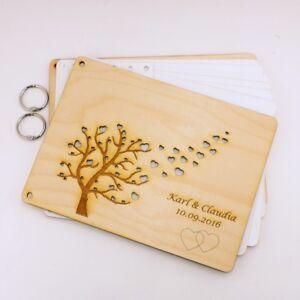 Baum mit fliegende Herzen Hochzeitsgeschenk Fotobuch Gästebuch mit Holzcover 6