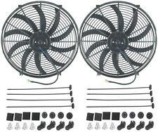 "DUAL 16"" INCH ELECTRIC FANS 12V AUTO RADIATOR COOLING FAN 120W MOTOR 2500 CFM"