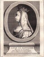 Portrait XVIIIe Anne De Bretagne Anna Breizh Reine Naples Duchesse De Milan