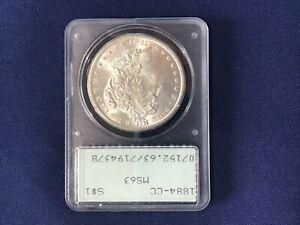 1884-CC Morgan Carson City Silver Dollar PCGS MS63 Old Blue Label   E6555