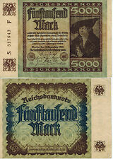 GERMANY 5000 MARK INFLATION REICH BANKNOTE 1922 CURRENCY MONEY WW1 WW2 WWI WWII