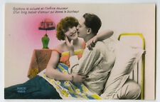 1920s Deco Sexy French LINGERIE FLAPPER Bedtime Romance photo postcard