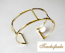 14K yellow gold High Polished hollow Double Cuff Bracelet 5.9 grams