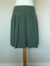 Fab Dickins & Jones Navy Blue Green Square Polka Dot Skirt Size 12 VGC Pleats