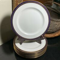 "8 Royal Doulton Cobalt and Gold 10 3/8"" Dinner Plates c.1914 England - Excellent"