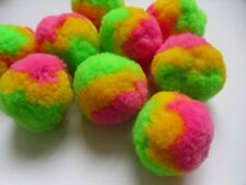 "2 "" Large 3 Multi-Colors Light Green / Pink / Yellow Pom Pom- 12 pcs-M004"