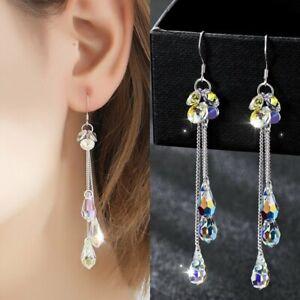 Tear Drop cristal con forma de gota cubiertos con Diamante detalle para orejas perforadas Plata