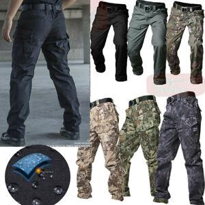 Men Tactical Cargo Pants Military Combat Outdoor Waterproof Casual Trousers