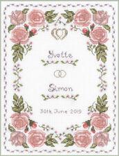 Dusky Pink Roses Wedding Sampler - complete cross stitch kit on 14 aida