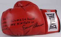 """EARNIE SHAVERS SIGNED MUHAMMAD ALI FIGHT QUOTE """"..hit me so hard.."""" BOXING GLOVE"""